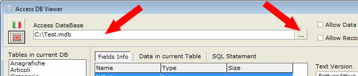 Select an Access database (*.mdb) by using the '…' button (or by clicking onto the path text-edit)